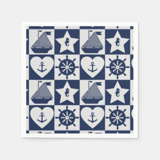 Nautical navy blue white checkered disposable serviettes