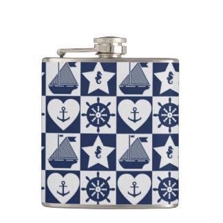 Nautical navy blue white checkered flasks