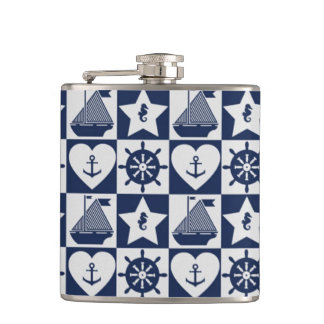 Nautical navy blue white checkered hip flask