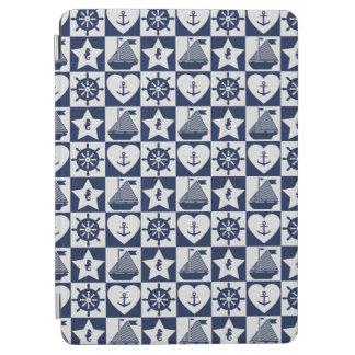Nautical navy blue white checkered iPad air cover