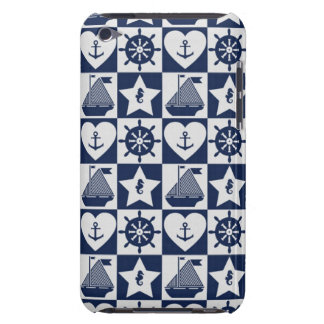 Nautical navy blue white checkered iPod touch Case-Mate case