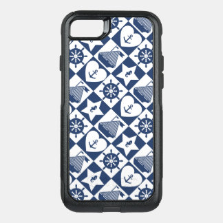 Nautical navy blue white checkered OtterBox commuter iPhone 8/7 case