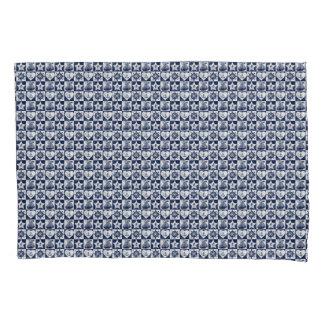 Nautical navy blue white checkered pillowcase