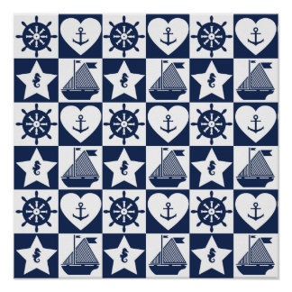 Nautical navy blue white checkered poster