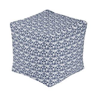 Nautical navy blue white checkered pouf