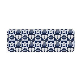 Nautical navy blue white checkered return address label