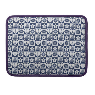 Nautical navy blue white checkered sleeves for MacBook pro