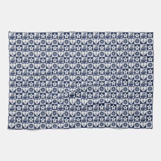 Nautical navy blue white checkered tea towel