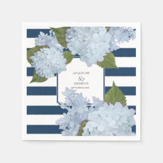 Nautical Navy Blue White Striped Hydrangea Floral Paper Napkins