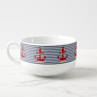 Nautical Navy Blue White Stripes and Red Anchors Soup Mug