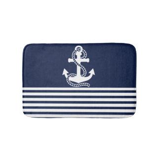 Nautical Navy Blue White Stripes and White Anchor Bath Mats