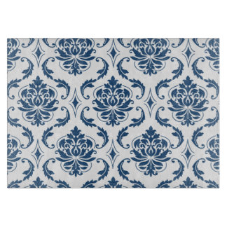Nautical Navy Blue White Vintage Damask Pattern Cutting Boards