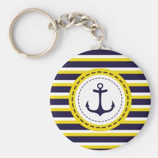 Nautical Navy Blue Yellow Stripes Anchor Design Basic Round Button Key Ring