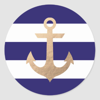 Nautical Navy Classic Round Sticker