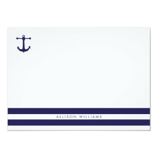 Nautical Navy Flat Note Cards 11 Cm X 16 Cm Invitation Card