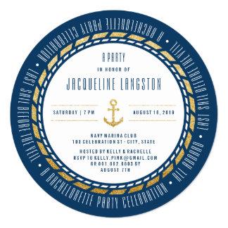 Nautical Navy Glam Chic Bachelorette Party Invite