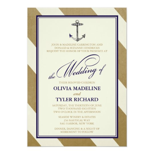 Nautical Navy & Gold Wedding Invitations