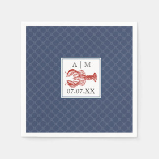 Nautical Navy Knot & Lobster Personalized Napkin Paper Napkins