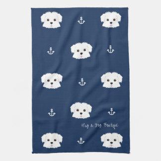 Nautical Navy Maltipoo Puppy Kitchen Towel