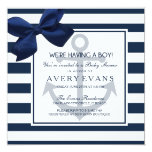 Nautical Navy Ribbon Anchor It's a Boy Baby Shower 13 Cm X 13 Cm Square Invitation Card