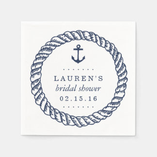 Nautical Navy Rope and Anchor Bridal Shower Paper Napkins