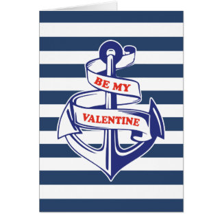 NAUTICAL NAVY SAILOR ANCHOR | VALENTINE'S DAY CARD