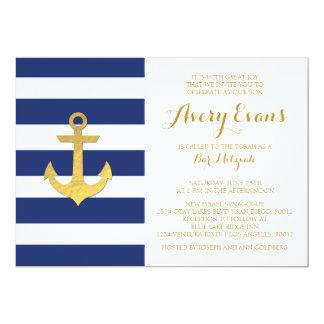 Nautical Navy Stripe Bat Mitzvah Invitations