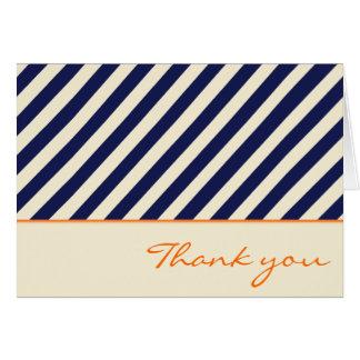 Nautical Navy Stripe Thank You Card