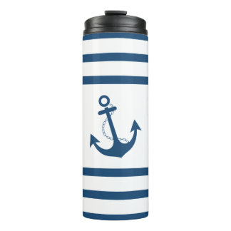 Nautical Navy Stripe with Anchor Design Thermal Tumbler