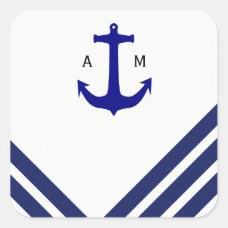 Nautical Navy Stripes Anchor Sticker