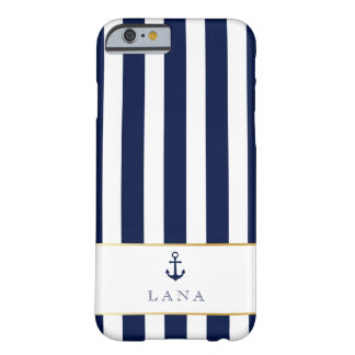 Nautical, Navy Stripes with Gold Accents Barely There iPhone 6 Case