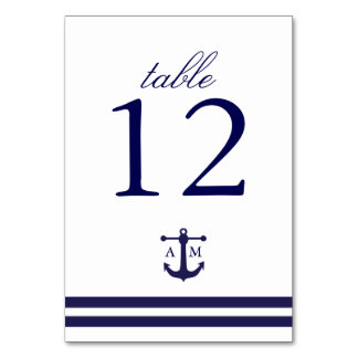 Nautical Navy Table Number Card