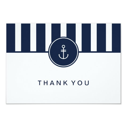 Nautical Navy Thank You Card