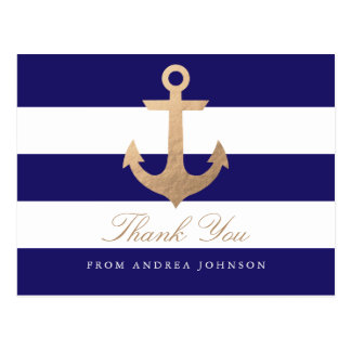 Nautical Navy Thank You Postcard