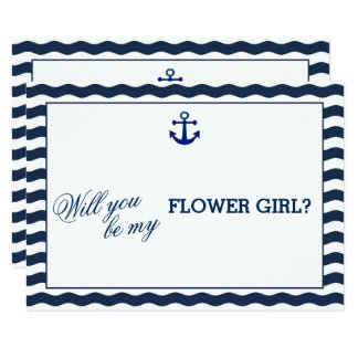 Nautical Navy Waves WILL YOU BE MY FLOWER GIRL 9 Cm X 13 Cm Invitation Card