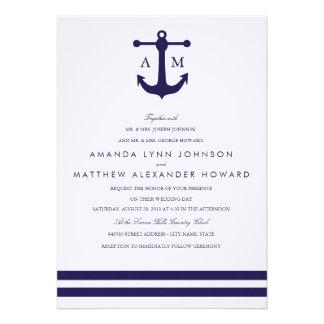 Nautical Navy Wedding Invitation Custom Invite