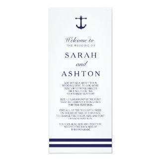 Nautical Navy Wedding Program 10 Cm X 24 Cm Invitation Card