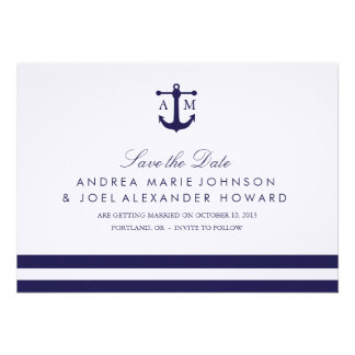 Nautical Navy Wedding Save the Date Announcements