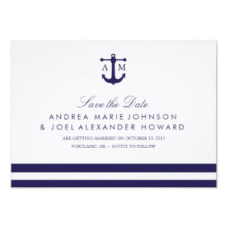 Nautical Navy Wedding Save the Date 13 Cm X 18 Cm Invitation Card