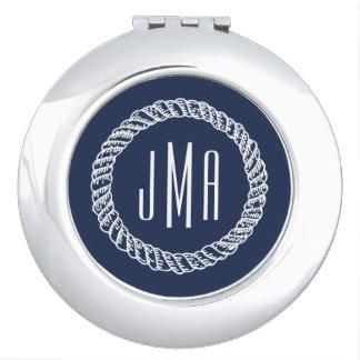 Nautical Navy & White Rope Monogram Makeup Mirror