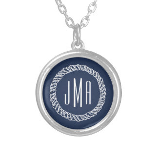Nautical Navy & White Rope Monogram Silver Plated Necklace