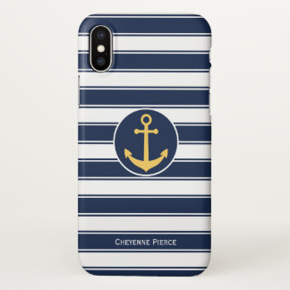 Nautical Navy White & Stripe | Anchor Personalized iPhone X Case