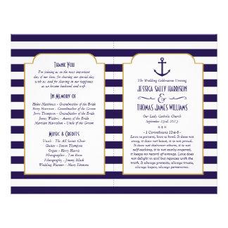 Nautical Navy & White Stripe Anchor Wedding Flyer