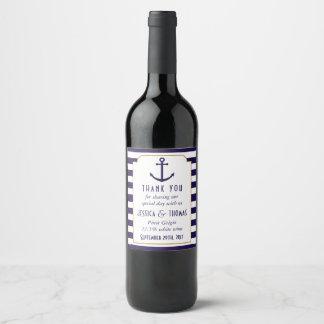 Nautical Navy & White Stripe Anchor Wedding Wine Label