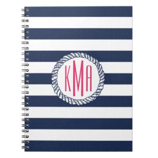 Nautical Navy & White Stripe w/ Pink Monogram Notebook