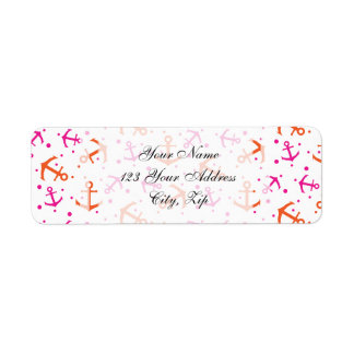 Nautical neon pink orange anchor  pattern return address label