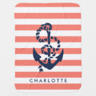 Nautical Nursery Coral Stripe Anchor Personalised Baby Blanket