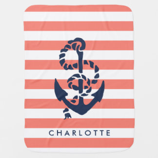Nautical Nursery Coral Stripe Anchor Personalized Receiving Blanket
