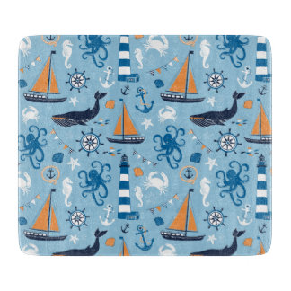 Nautical Ocean Blue and Orange Cutting Board