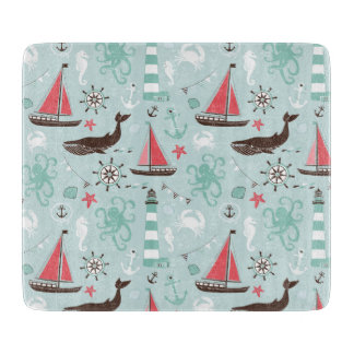 Nautical Ocean Blue and Rose Cutting Boards